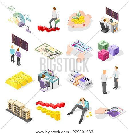 Stock Exchange Isometric Icons With Coins Gold Bars Bundles Of Banknotes Stock Market Price On Displ