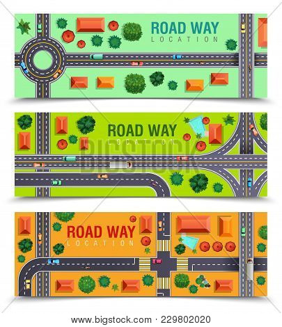 Set Of Horizontal Banners With Roadway Including Crossroads, Junctions, Vehicles, Buildings On Color