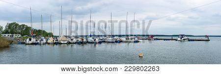 Geierswalde, Germany - May 20, 2017: Panoramic View Of The Marina On Lake Geierswalder See. Free Sta