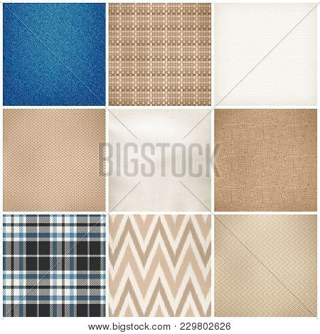 Realistic Textile 9 Samples Collection Square Of Various Fibers Weave Texture Color Pattern Fabrics