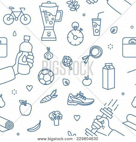 Modern Seamless Pattern With Healthy Lifestyle Attributes Drawn With Blue Contour Lines On White Bac