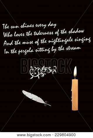 Goose Feather - Burning Candle - Poems About Love - Black Background - Art Vector Illustration