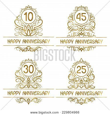 Set Of Golden Anniversary Vintage Emblems For Ten, Twenty Five, Thirty, Forty Five Years.
