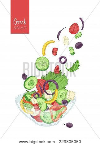 Colorful Drawing Of Greek Salad And Its Ingredients. Tomato, Cucumber, Olive, Feta Cheese, Onion, Be