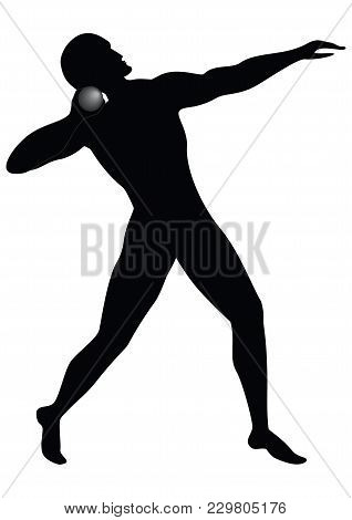 Shot Put - Sketch - Man - Isolated On White Background - Art Creative Vector