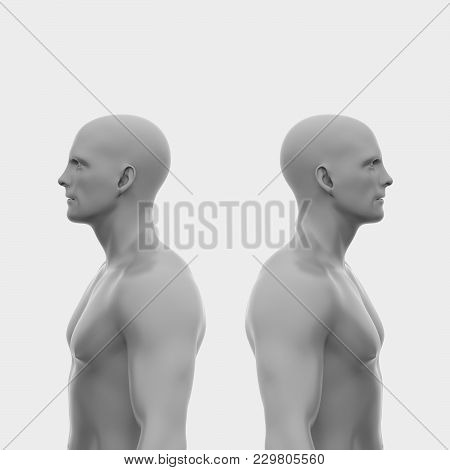 Two Men Back To Back Without Clothing To The Waist. Abstract Minimalist Art. Communication Concept.