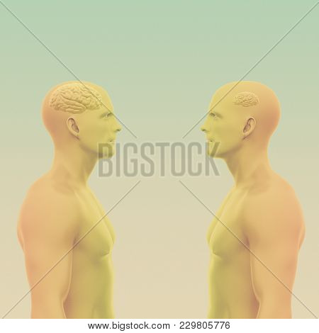 Two Men Face Each Other One With A Large Brain The Other With A Small. Abstract Minimalist Art. Comm