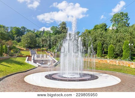 Vladimir, Russia - August 10, 2017: A Picturesque View With A Fountain And A Beautiful Staircase In