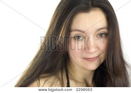 Middle Aged Woman With Long Hair