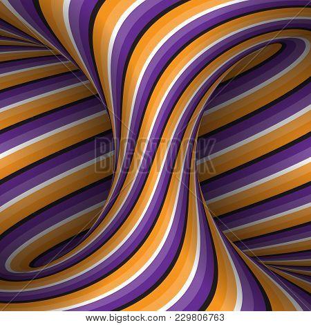 Moving Spiral Patterned Hyperboloid Of Orange Purple Stripes. Vector Optical Illusion Illustration.