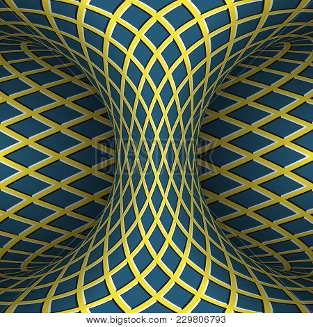 Moving Checkered Hyperboloid. Vector Optical Illusion Illustration.
