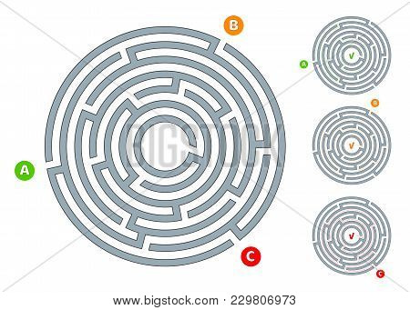 Abstract Circular Maze Labyrinth With An Entry And An Exit A Flat Illustration On A White Background
