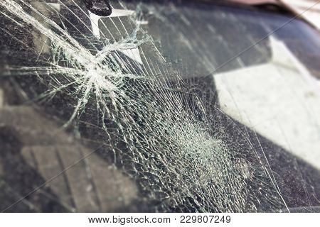 Broken Car Window, An Accident On The Road. Safe Movement