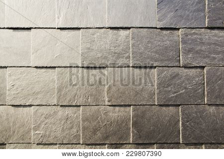 Abstract Detail Of Old Slate Roof Tiles.
