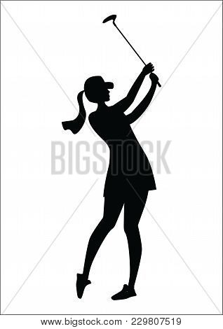 Sketch - Girl With Golf Club - Isolated On White Background - Art Creative Vector Illustration