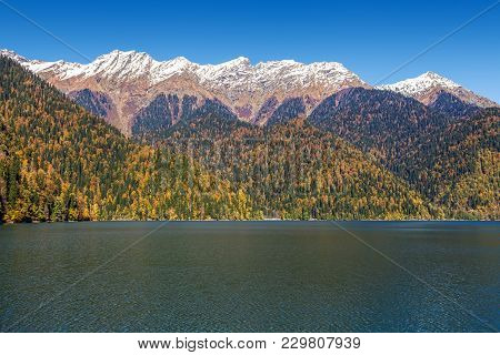 Autumn Evening At The Mountain Lake Ritsa. Abkhazia.