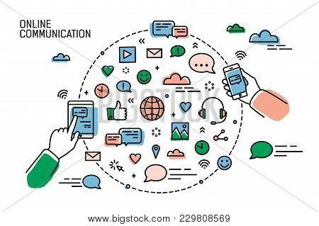 Two Hands Holding Smartphones And Symbols Of Social Media, Internet Networks, Chatting And Instant M