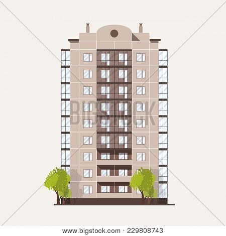 Panel Building With Multiple Floors With Balconies And Pair Of Trees Growing Beside. Multi Story Liv
