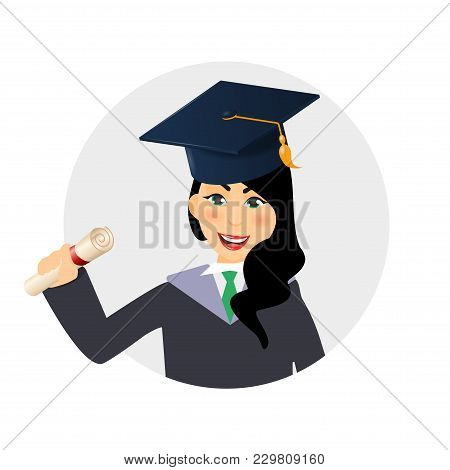 Circle Avatar Of Diploma Graduating Happy Student Girl. A Young Graduate Woman Holding Certificate O