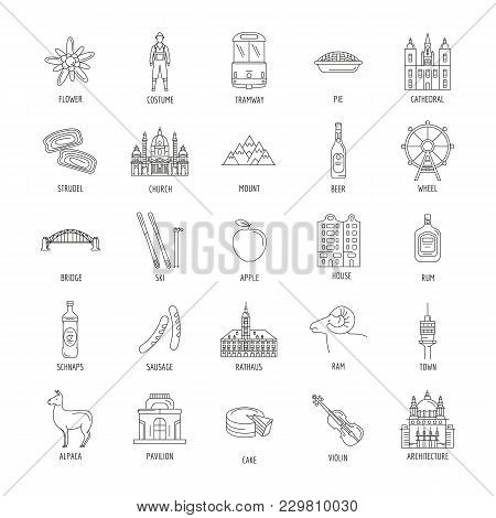 Austria Icons Set. Outline Illustration Of 25 Austria Vector Icons For Web And Advertising