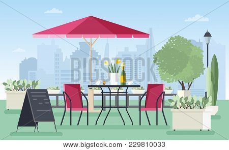 Summer Outdoor Cafe, Coffeehouse Or Restaurant With Table, Chairs, Umbrella And Welcome Board Standi