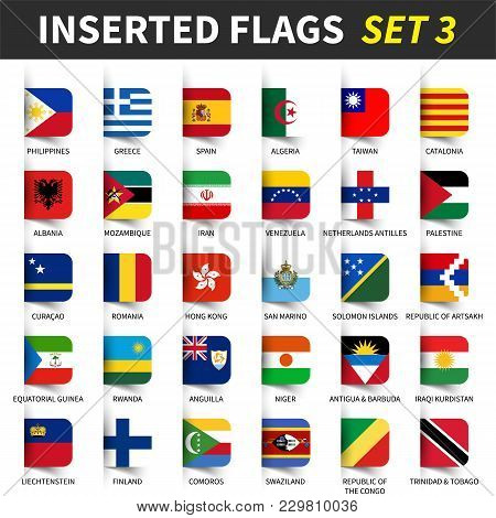 All Flags Of The World Set 3 . Inserted And Floating Sticky Note Design . ( 3/8 ) .