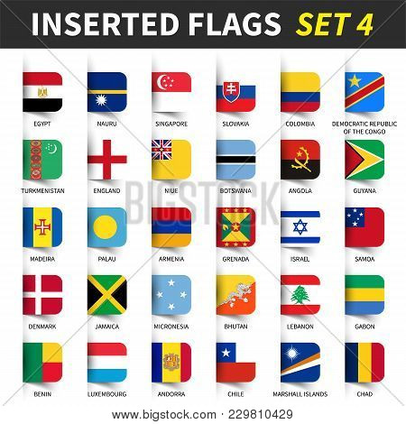 All Flags Of The World Set 4 . Inserted And Floating Sticky Note Design . ( 4/8 ) .