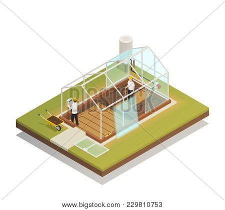 Greenhouse Cable-supported Facility Construction Process Isometric Composition With 2 Workers Instal