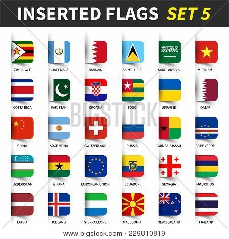 All Flags Of The World Set 5 . Inserted And Floating Sticky Note Design . ( 5/8 ) .