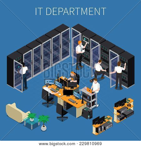 Isometric Composition With System Administrators And Technicians Working At Information Technology E