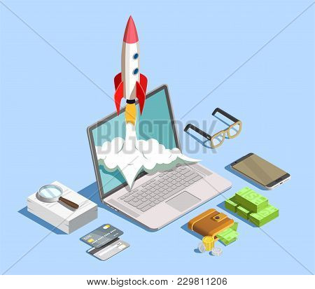 Financial Technology Design Concept With Laptop Smartphone Stack Of Banknotes Signs Fraud Detection