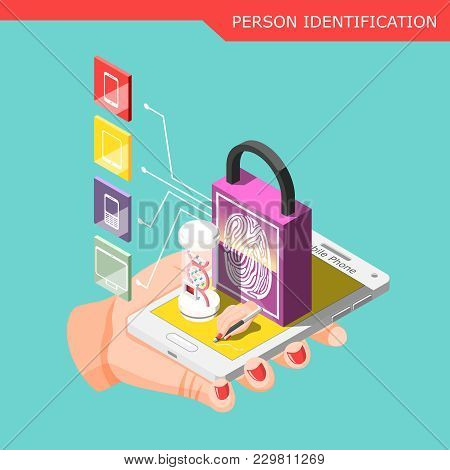 Biometric Id Isometric Composition With Human Hand Holding Smartphone Protected By Password With Per