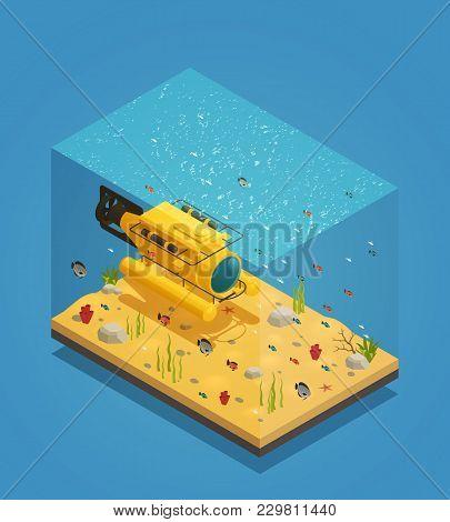 Bathyscaphe Deep Sea Exploration Submergence Vehicle On  Sandy Ocean Bottom  With Seaweeds Isometric
