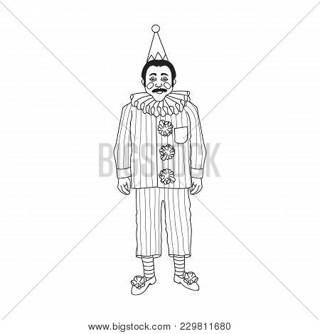 Vintage Circus Illustrations Collection. Clown. Lineart Illustration For Adult Coloring Book.