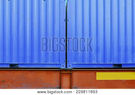 Twin Cargo Container Texture. Transportation Of Cargoes By Rail In Containers. Railway Infrastructur