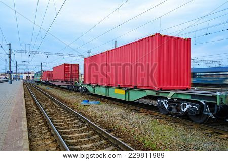 Transportation Of Cargoes By Rail In Containers. Railway Infrastructure Background