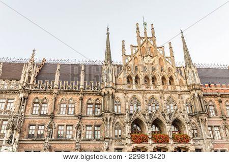 Famous Munich city hall at the marienplatz