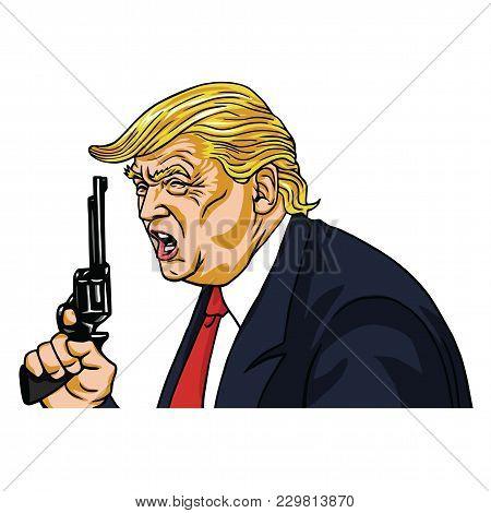 Donald Trump Holding Gun. Vector Cartoon Caricature Portrait Illustration. March 6, 2018