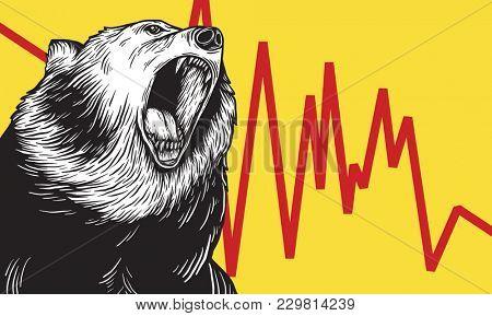 Bear Market Icon Symbol Concept