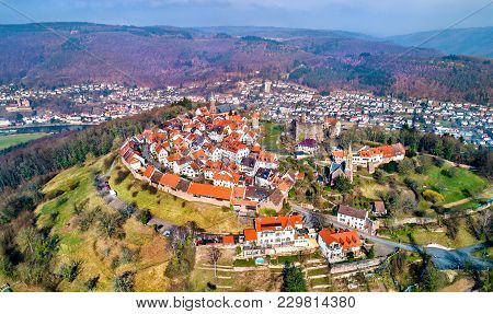 Aerial View Of Dilsberg, A Town With A Castle On The Top Of A Hill Surrounded By A Neckar River Loop