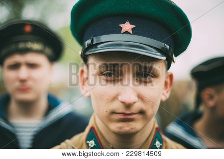 Mogilev, Belarus - May, 08, 2015: Unidentified Re-enactor Dressed As Soviet Soldier During Events De