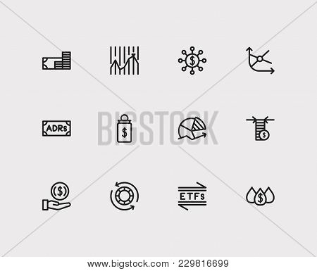Finance icons set. Chart and finance icons with hedge funds, adrs and invest money. Set of elements including pension for web app logo UI design. poster
