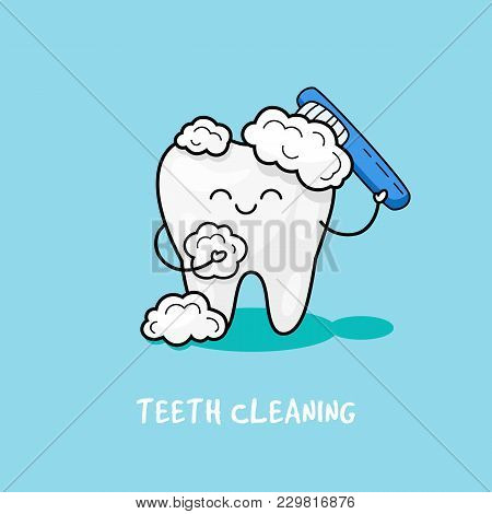 To Brush Your Teeth With Toothpaste. Dental Personage Vector Illustration. Illustration For Children