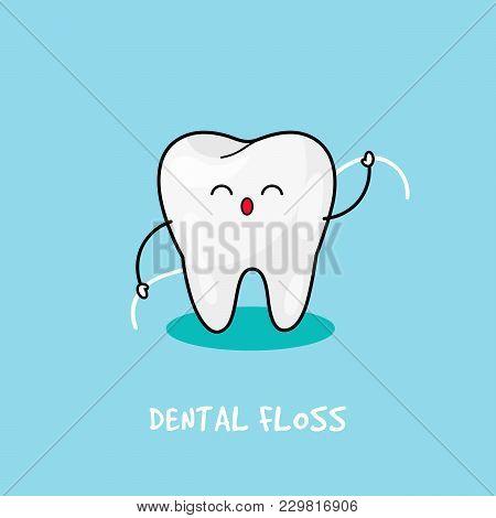 Brushing Teeth Flossing. Dental Personage Vector Illustration. Illustration For Children Dentistry.