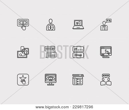 Search Icons Set. Tags And Search Icons With Responsive Design, Digital Marketing And Ppc. Set Of El