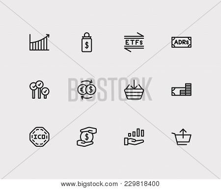 Finance Trading Icons Set. Rally And Finance Trading Icons With Exchange, Etfs And Buy. Set Of Eleme