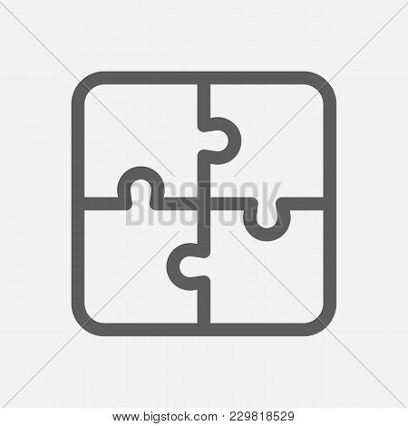 Core Values: Integrity Icon Line Symbol. Isolated Vector Illustration On Company Values Jigsaw Sign
