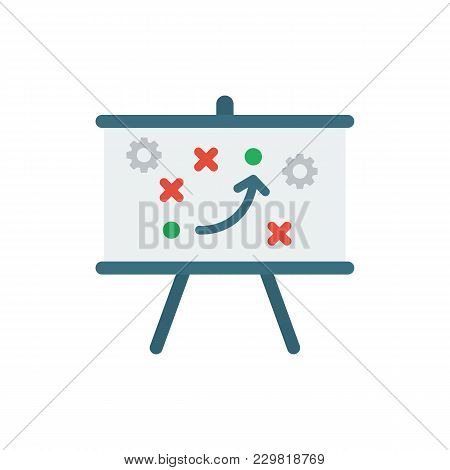 Technical Strategy Icon Flat Symbol. Isolated Vector Illustration Of Strategy Tripod Sign Concept Fo