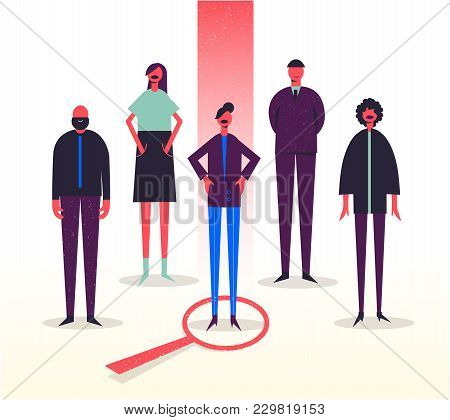 Vector Business Illustration, Stylized Characters. Recruitment, Head Hunting, Job Searching. Choosin