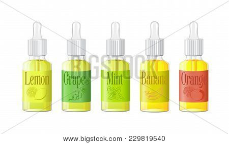Vape Bottles With Liquid. Photo Realistic Illustration E-liquid With Fruit Icons Vape Shop. Vector.